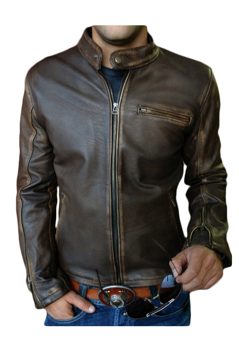 R79 Leather Jacket Distressed Brown Vintage Fit - Motorcycle Cafe Racer