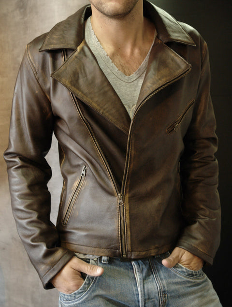 Rebel DK Leather Jacket Cafe Racer Distressed Brown
