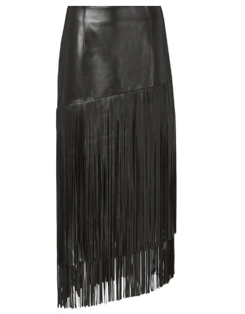 Leather Accessory Skirt Frenges in Black Calfskin