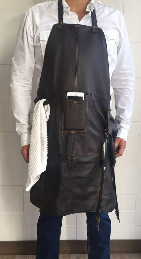 JAMES Leather Grilling cellphone Apron Distressed Brown - Personalized Embroidery- Cellphone Pocket