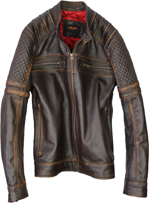 AXE Leather Jacket in Distressed Dark Brown Lambskin Cafe Racer