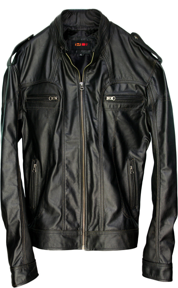 2018 AX Leather Jacket Solid Black Motorcycle Cafe racer