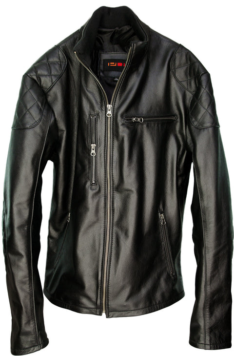 RIDER Leather Jacket Black - Cafe Racer