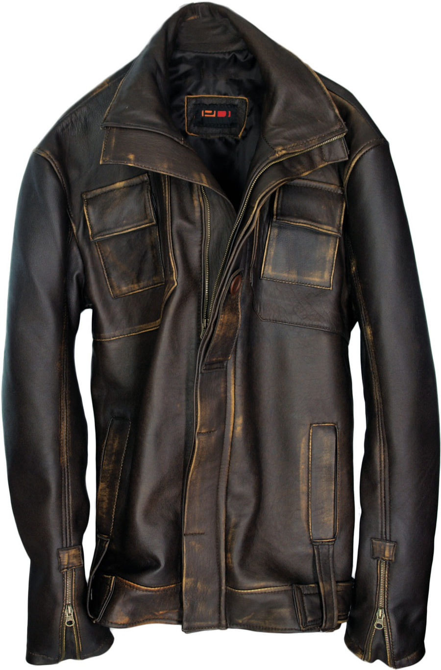 GHOST Leather Jacket Distressed Brown Mid-Length