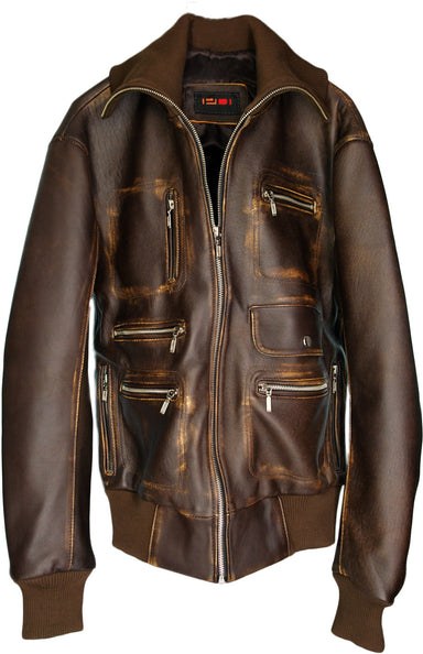 BERLIN Leather Jacket Distressed Brown - Multipockets