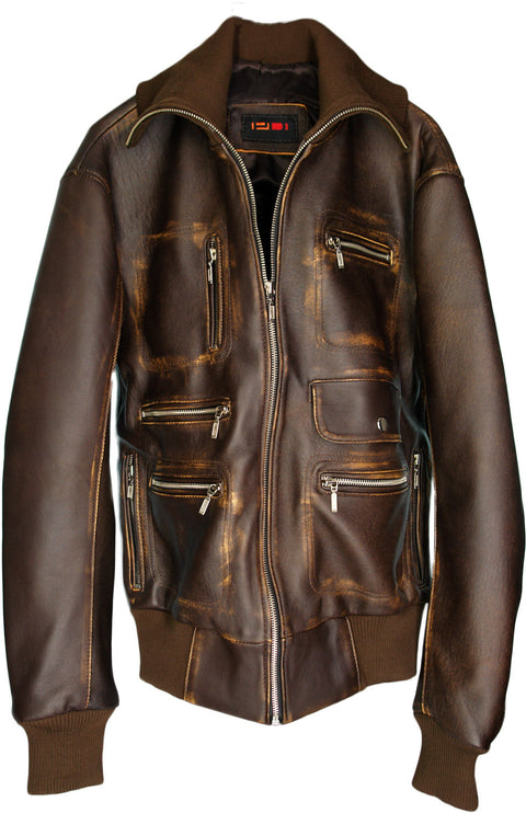 BERLIN Leather Jacket Distressed Brown Edition