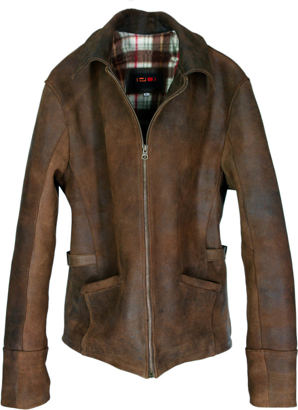 RUGGED Aged Leather Jacket in Vintage Brown