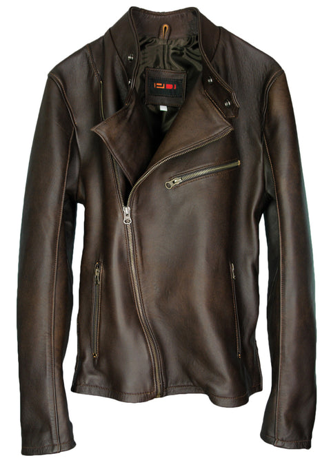 LOTUS Leather Jacket Classic Cafe Racer Motorcycle - Dark Brown