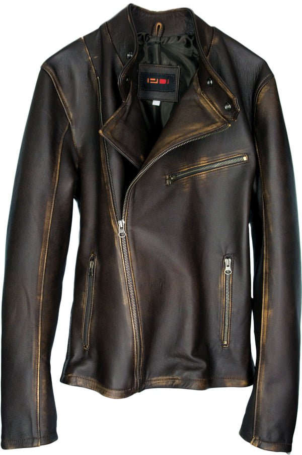 LOTUS Leather Jacket Classic Rider Jacket - Distressed Brown