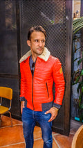 MAR Leather Jacket Quilted Shearling - Orange