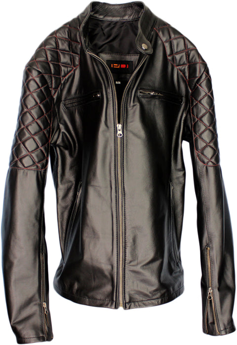 SPIDER Leather Jacket Black / Red