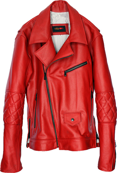 MAG Leather Jacket  quilted elbows - Red Edition