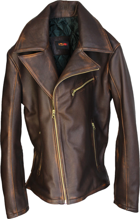 Rebel GOLD Leather Jacket Cafe Aged Lambskin Distressed Brown Diamond