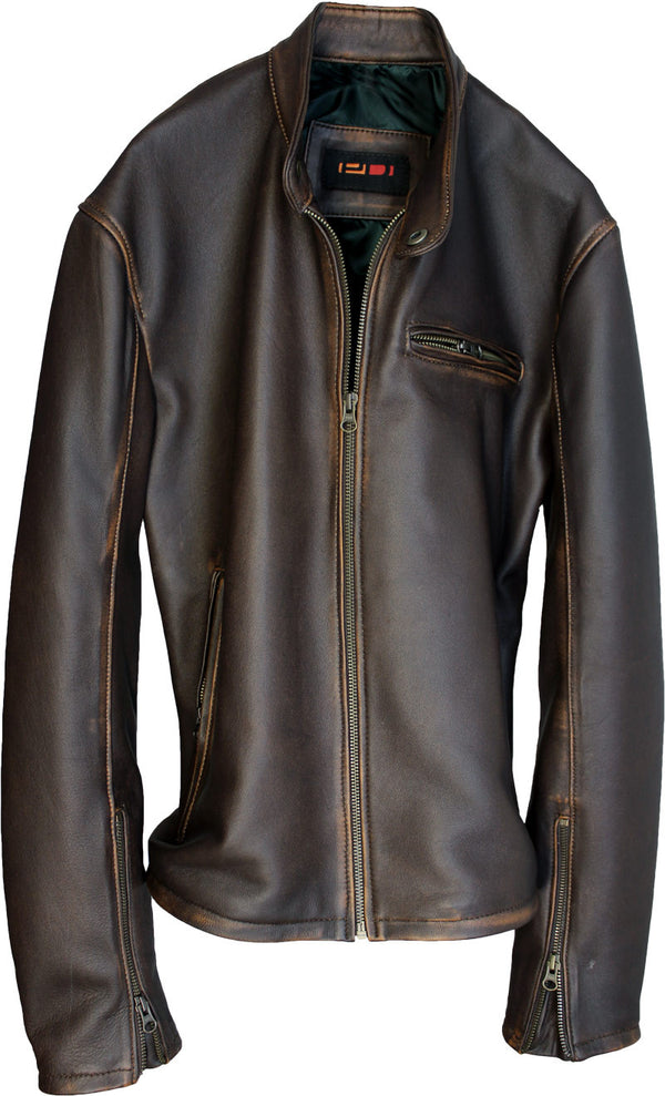 R79 Leather Jacket Lambskin Distressed Brown Vintage Fit - Motorcycle Cafe Racer