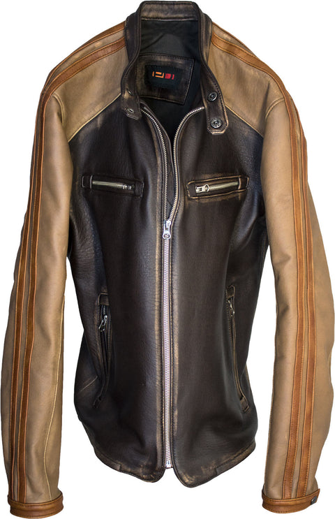 CARRERA Leather Jacket Cafe Racer Striped Motosport  - Brown