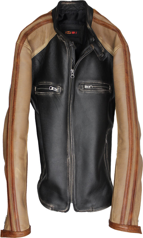 CARRERA Leather Jacket Cafe Racer Stripes Motosport  - Distressed Black