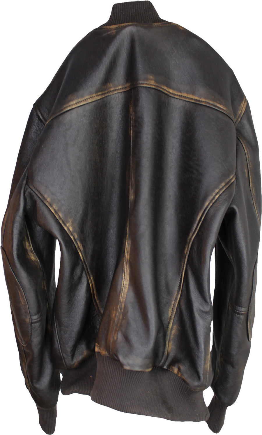 VERMONT Leather Jacket Bomber  - Distressed Dark Brown