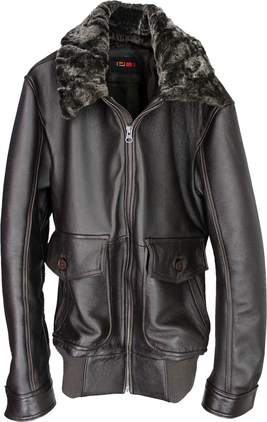 BELL 59 Leather Pilot Jacket Shearling  Distressed Dark Brown