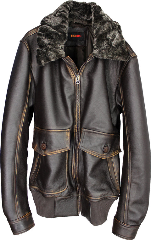 BELL 59 Leather Jacket Slim Aero Military Wool Collar  Dark Brown or Distressed Dark Brown