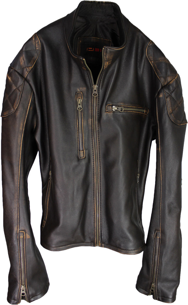 TRIUMPH Leather Jacket Lambskin - Cafe Racer Distressed Brown