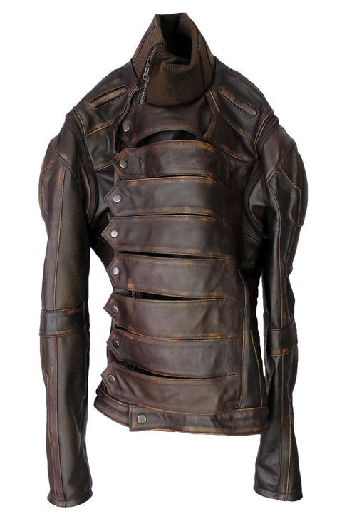 WINTER SOLDIER Leather Jacket  Lambskin 1.0mm Distressed Dark Brown