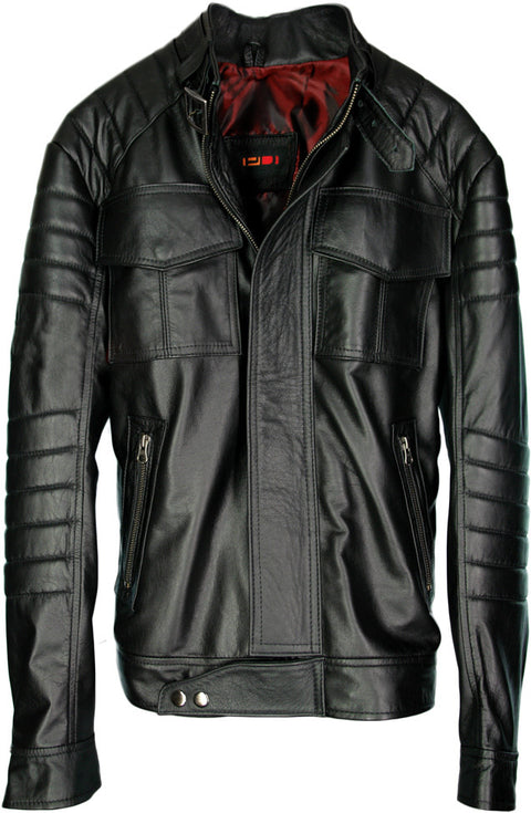 MILWAUKEE Leather Jacket Black Padded Lightweight Calfskin Edition
