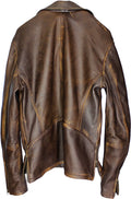Rebel GOLD Leather Jacket Cafe Aged Distressed Brown Diamond