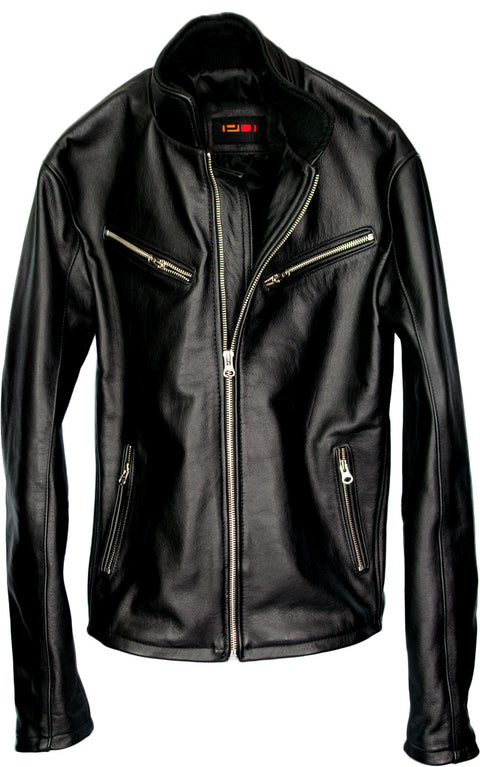 SEINFELD Leather Jacket Solid Black Motorcycle