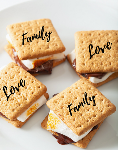 s'mores with family and love branded graham crackers