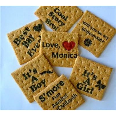 Printed Graham Cracker Squares - Custom Design, Set of 24