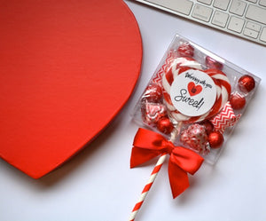 LolliBox Candy Box filled with fun Valentine's Day Themed Candy that is accented with a bow