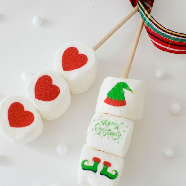 Marshmallow Sticks - Holiday Designs Merry Christmas Elf and Heart design