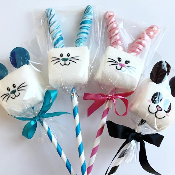 Critter Pops marshmallows decorated with lollipop ears. Choose from pink or blue Easter bunny, Mouse, or Panda Bear favors