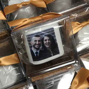 Smore kit wedding favor with couples photograph printed on the marshmallow