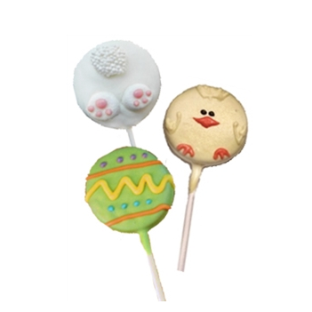 Easter candy oreo pop. Easter Egg and Easter Bunny or spring check decorated oreo cookie pop
