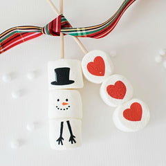Marshmallow Sticks - Holiday Designs Snowman and heart designs