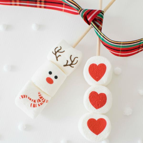Marshmallow Sticks - Holiday Designs reindeer and heart designs
