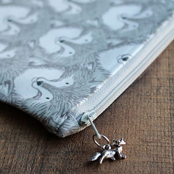 Grey Fox Fabric Project Pouch