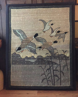 Grenfell Ducks over the Marsh - Winter Snowflakes  SOLD