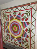 Artistic Mennonite Blazing 8-Pt. Star and Tulip Quilt