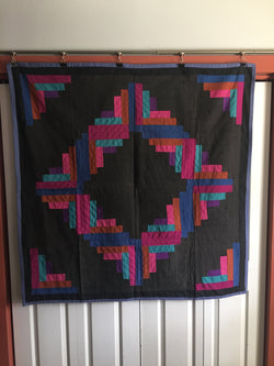 Log Cabin Amish Crib Quilt  -  early 20th Century
