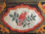 Parrot Hooked Rug with hearts