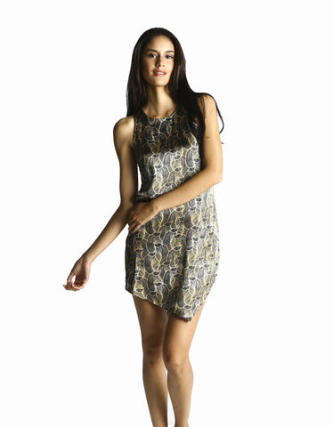 pjMe Luxe Leaf Asymmetrical Nightie - front view
