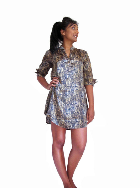 pjMe Luxe Leaf Silk Sleepshirt - 100% silk