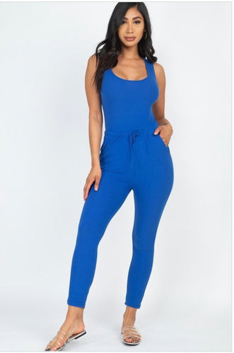 Solid Ribbed Tank Jumpsuit