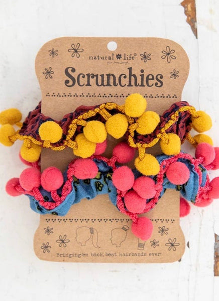 Large Pom Pom Scrunchie Set