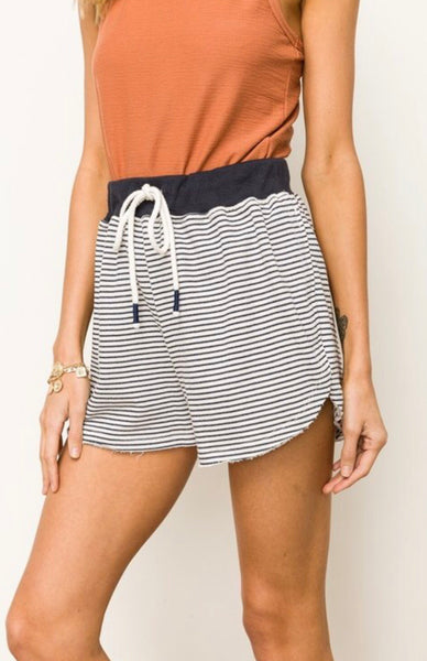 Navy Striped Short