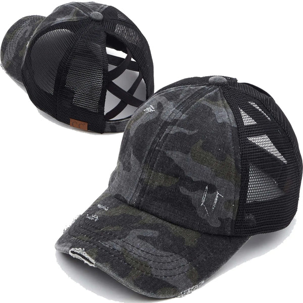C.C Criss Cross Black Camo Hat