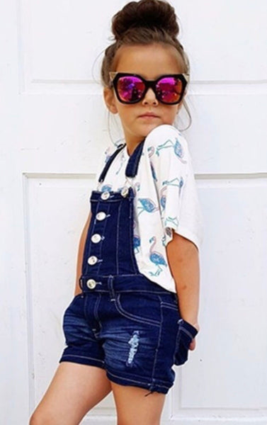 Girls Denim Short Overalls
