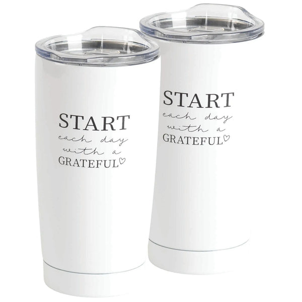 Start Each Day Stainless Steel Tumbler White 20 oz